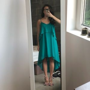 Teal high low strappy dress